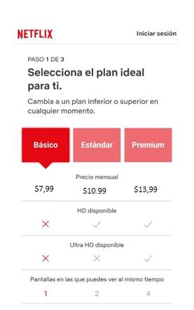 Planes de Netflix en dólares